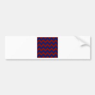 Zigzag I - Dark Red and Dark Blue Bumper Sticker