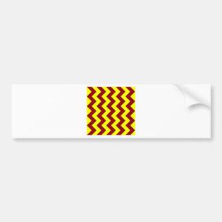 Zigzag I - Dark Red and Yellow Car Bumper Sticker