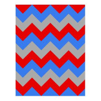 Zigzag I - Gray, Blue, Red Postcard