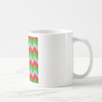 Zigzag I - Gray, Green, Red Coffee Mugs