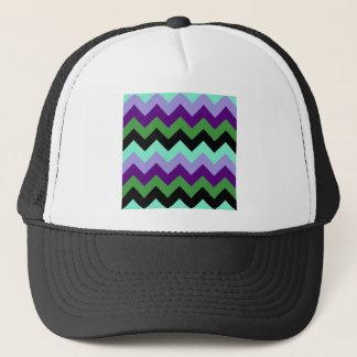 Zigzag I - Green, Violet, Violet, Green, Black Trucker Hat
