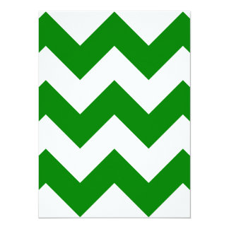 Zigzag I Large - White and Green Custom Invitation Cards