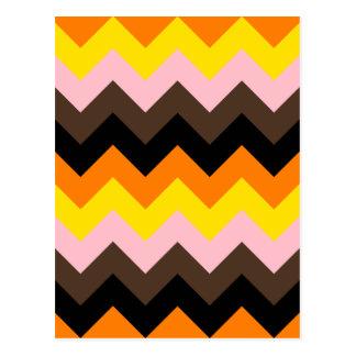 Zigzag I - Naranja, amarillo, rosa, Brown, negro Postal