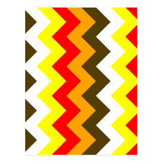 Zigzag I - Naranja, rojo, amarillo, blanco, Brown Tarjeta Postal