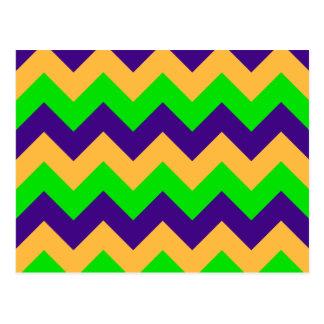 Zigzag I - Naranja, violeta, verde clara Postal