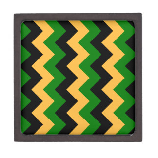 Zigzag I - Negro, naranja y verde Caja De Recuerdo De Calidad