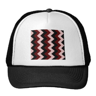 Zigzag I - Negro, rojo oscuro y rosado Gorros Bordados