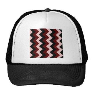 Zigzag I - Negro, rojo oscuro y rosado Gorro De Camionero