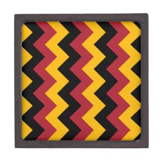 Zigzag I - Negro, rojo y naranja Caja De Recuerdo De Calidad