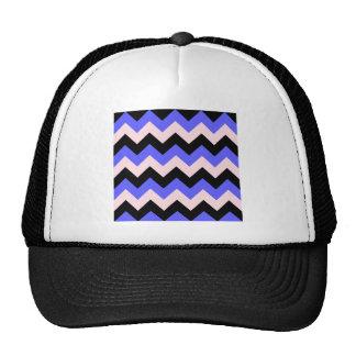 Zigzag I - Negro, rosa y azul Gorros Bordados