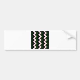 Zigzag I - Negro, rosado y verde oscuro Pegatina Para Auto