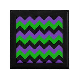 Zigzag I - Negro, verde y violeta Caja De Joyas