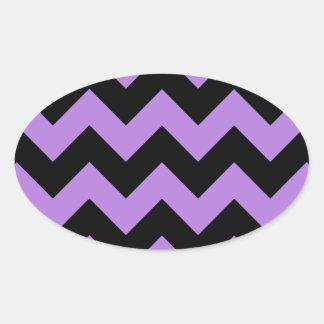 Zigzag I - Negro y lavanda Pegatina Ovalada