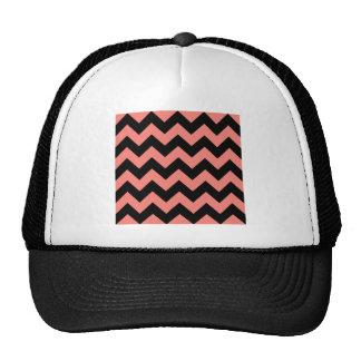 Zigzag I - Negro y rosa del coral Gorras De Camionero