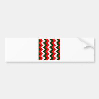 Zigzag I - Pink, Dark Green, Red Bumper Sticker