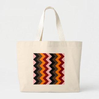 Zigzag I - Pink, Red, Orange, Brown, Black Canvas Bag