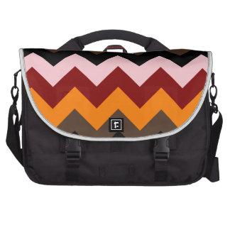 Zigzag I - Pink, Red, Orange, Brown, Black Laptop Messenger Bag