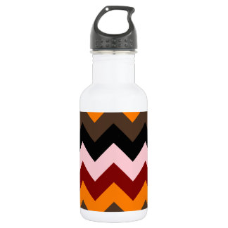 Zigzag I - Pink, Red, Orange, Brown, Black Stainless Steel Water Bottle