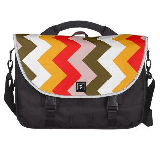 Zigzag I - Pink, Red, Orange, White, Brown Bag For Laptop