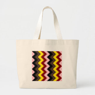 Zigzag I - Pink, Red, Yellow, Brown, Black Canvas Bag