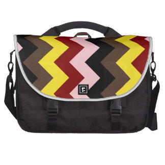 Zigzag I - Pink, Red, Yellow, Brown, Black Laptop Bags