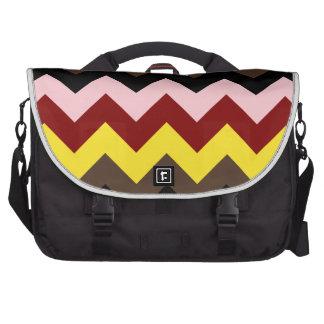 Zigzag I - Pink, Red, Yellow, Brown, Black Computer Bag