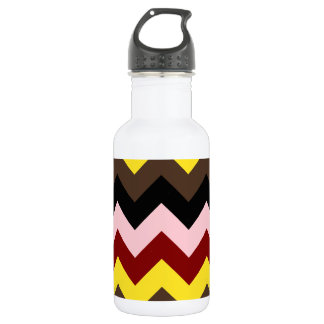 Zigzag I - Pink, Red, Yellow, Brown, Black Stainless Steel Water Bottle