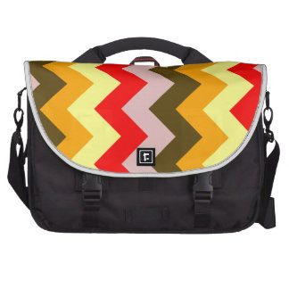Zigzag I - Pink, Red, Yellow, Orange, Brown Bags For Laptop
