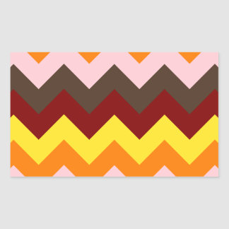 Zigzag I - Rojo oscuro, amarillo, anaranjado, Pegatina Rectangular