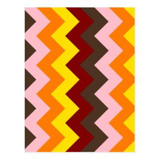 Zigzag I - Rojo oscuro, amarillo, anaranjado, Postales