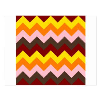 Zigzag I - Rojo oscuro, amarillo, anaranjado, Tarjeta Postal