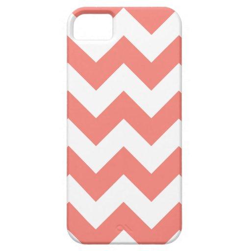 Zigzag I - Rosa blanco y del coral iPhone 5 Case-Mate Funda
