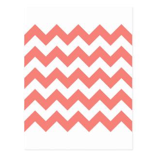 Zigzag I - Rosa blanco y del coral Postales