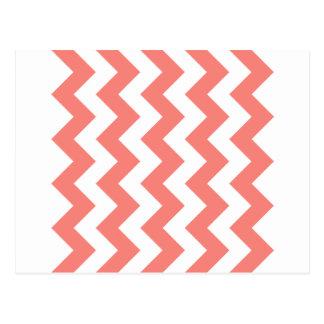 Zigzag I - Rosa blanco y del coral Postal