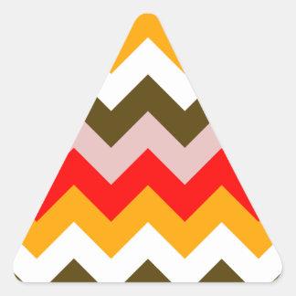 Zigzag I - Rosado, rojo, anaranjado, blanco, Brown Pegatina Triangular