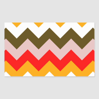 Zigzag I - Rosado, rojo, anaranjado, blanco, Brown Pegatina Rectangular