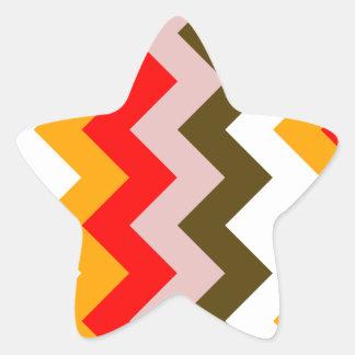 Zigzag I - Rosado, rojo, anaranjado, blanco, Brown Pegatina En Forma De Estrella