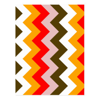 Zigzag I - Rosado, rojo, anaranjado, blanco, Brown Postales