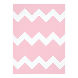 Zigzag I Single - White on Pink 6.5x8.75 Paper Invitation Card