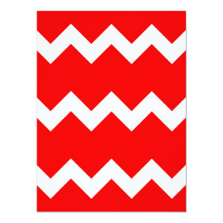 Zigzag I Single - White on Red 6.5x8.75 Paper Invitation Card