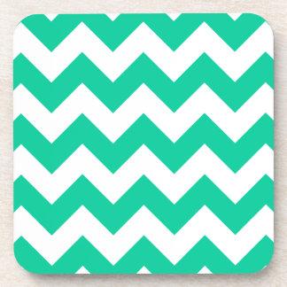 Zigzag I - White and Caribbean Green Drink Coaster