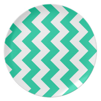Zigzag I - White and Caribbean Green Party Plates