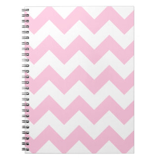 Zigzag I - White and Cotton Candy Spiral Notebook