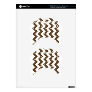 Zigzag I - White and Dark Brown Xbox 360 Controller Skins