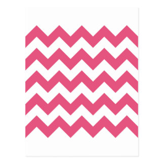 Zigzag I - White and Dark Pink Post Card