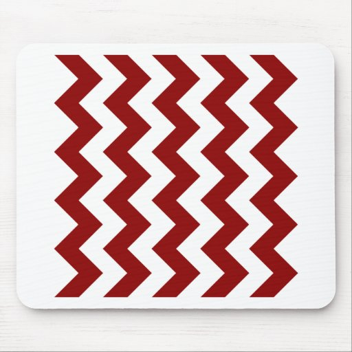 Zigzag I - White and Dark Red Mouse Pad