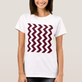Zigzag I - White and Dark Scarlet T-Shirt