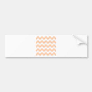 Zigzag I - White and Deep Peach Bumper Stickers