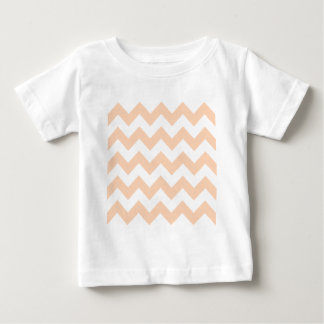 Zigzag I - White and Deep Peach Tee Shirts