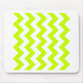 Zigzag I - White and Fluorescent Yellow Mousepad